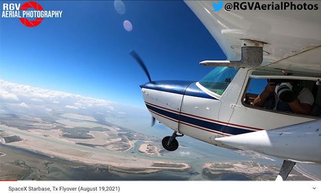 Aerial image showing RGV flying over Boca Chica (Source: @RGV Aerial Photography)