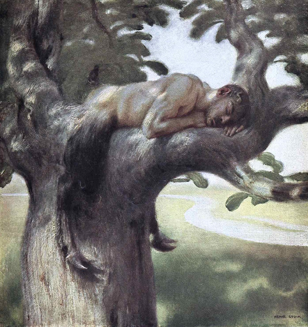 a Franz von Stuck painting, a satyr asleep in a tree