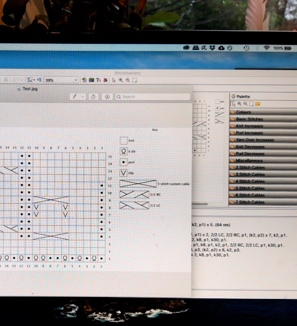 A computer screen showing part of a test chart for a new sock design