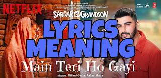 Main Teri Ho Gayi Lyrics Meaning in English – Sardar Ka Grandson | Millind Gaba