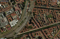 satellite image Milan Navigli Grande canal and Porta Genova Station with Metro M2 Porta Genova