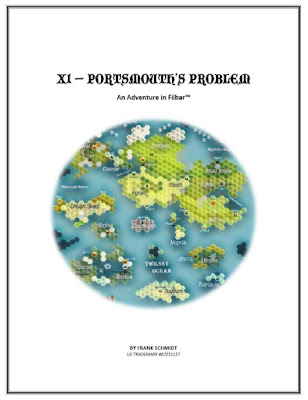 """The cover of Portsmouth's Problem, depicting a hex map made in hexographer  depicting a large campaign world. Text reads: """"X1 - Portsmouth's Problem. An adventure in Filbar (tm). By Frank Schmidt. US Trademark #87251157"""