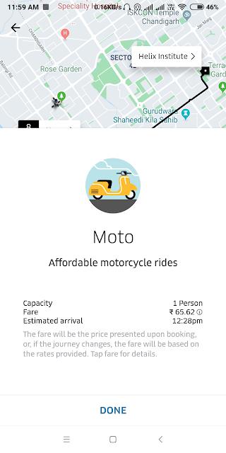 Uber Moto fare explained