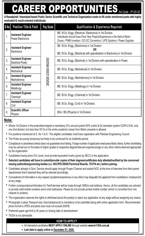 Public Sector Scientific and Technical Organization Jobs 2020 | Allsindhjobz