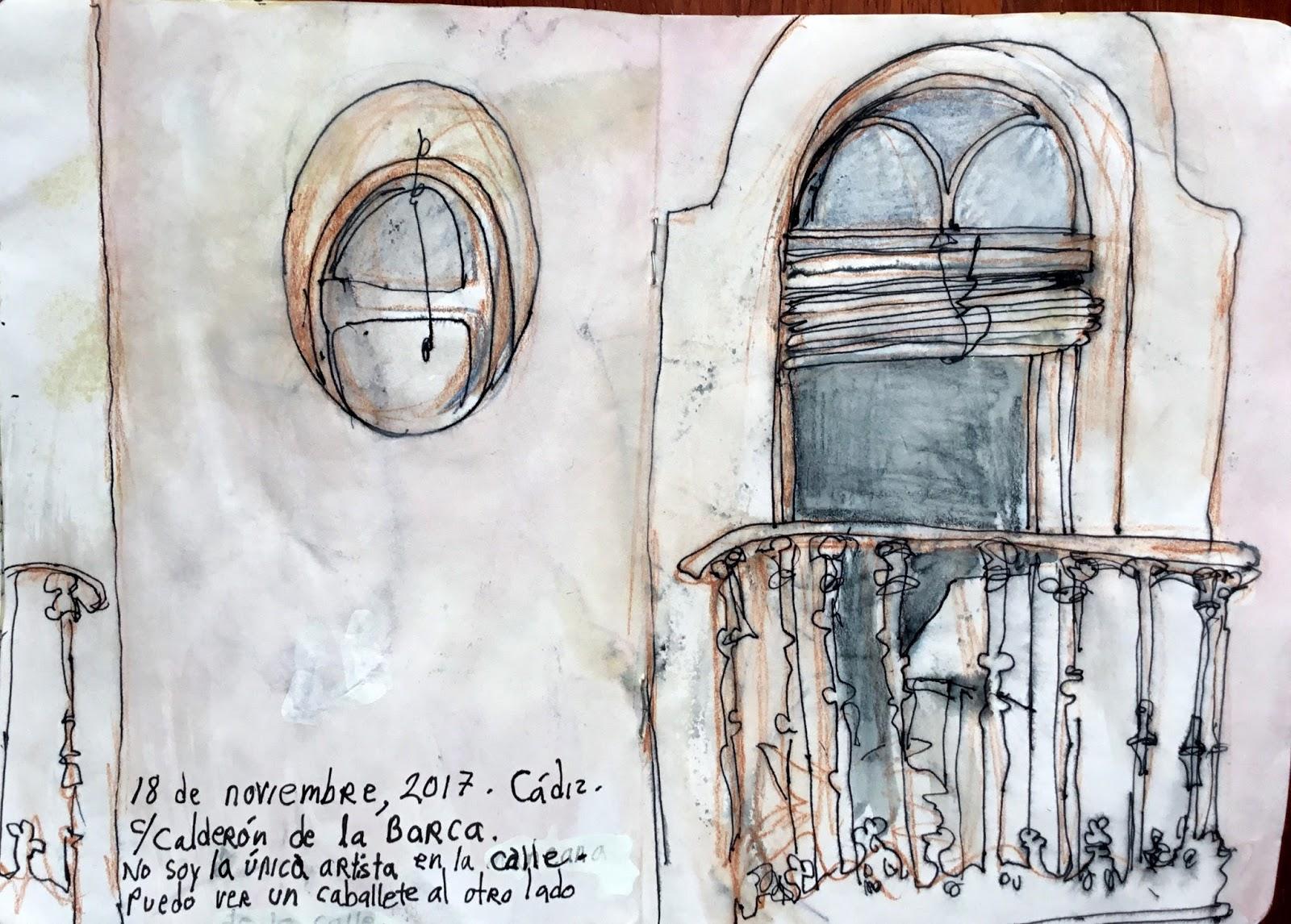 November on c/Calderón de la Barca in Cádiz. | Urban Sketchers