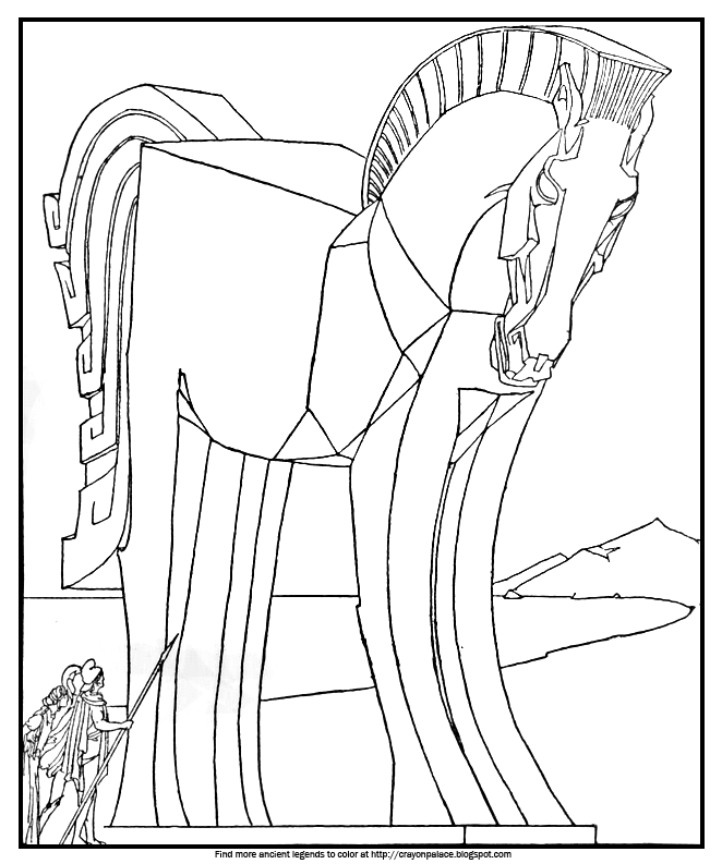 coloring book pages trojan horse | Color the Great Wooden Horse | Crayon Palace