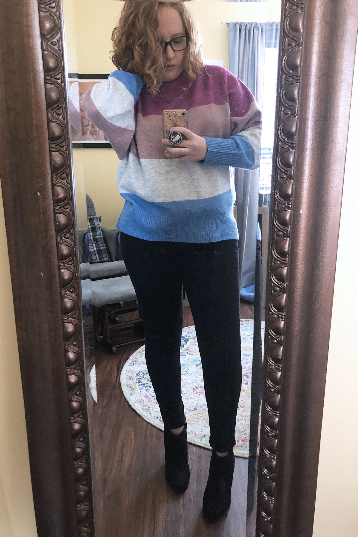 black jeans striped sweater