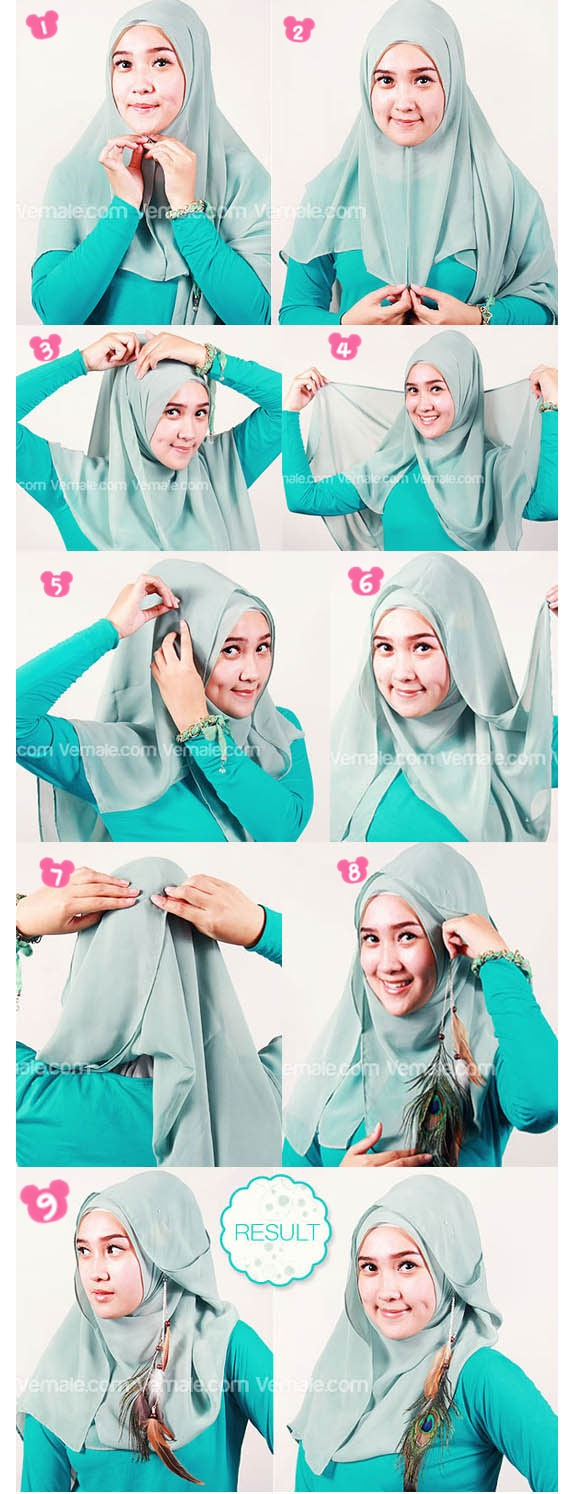 Tutorial Hijab Segi Empat ~ Part of Mine