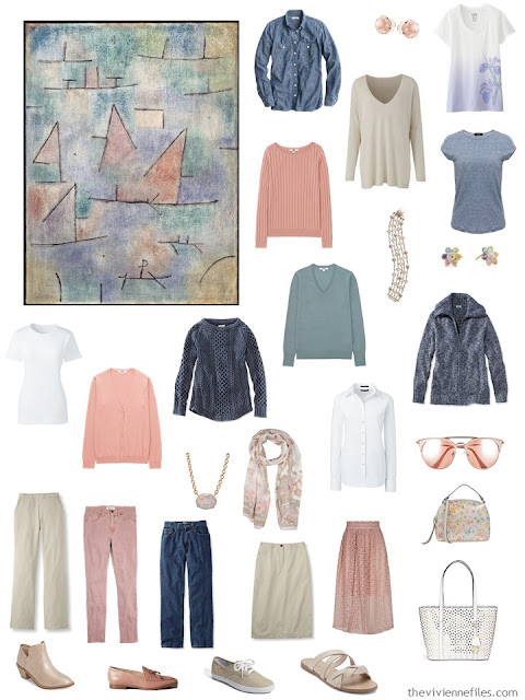 a sixteen-piece 4 by 4 Wardrobe in khaki, denim, white, and pastels