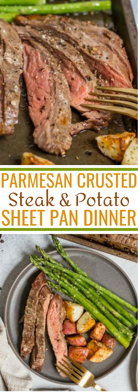 Parmesan Crusted Steak and Potato Sheet Pan Dinner #easy #dinner #lunch #weeknight #recipes