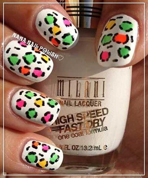 Neon Leopard Prints Nail Design
