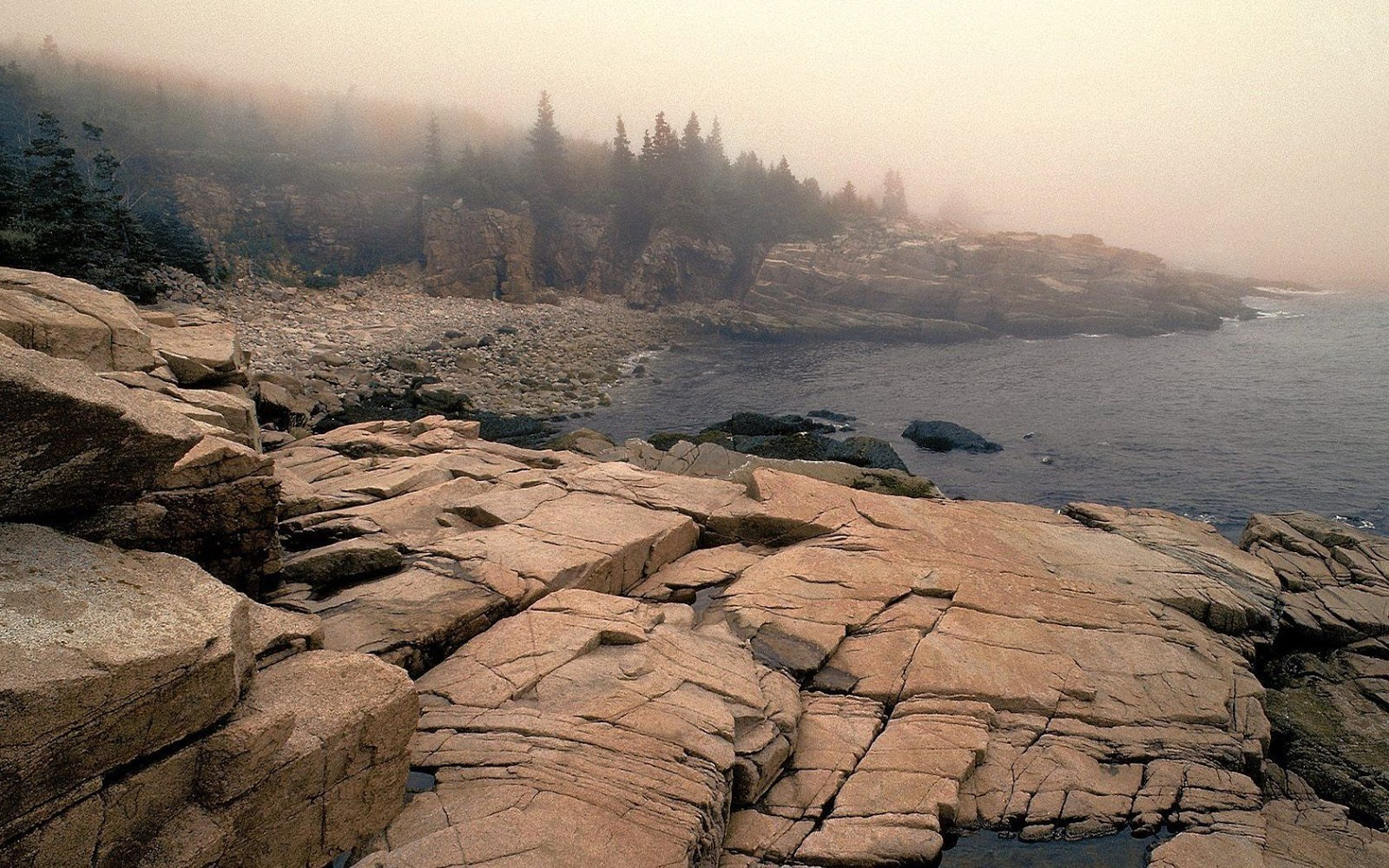 Landscapes nature Maine fog National Park Acadia wallpapers photo