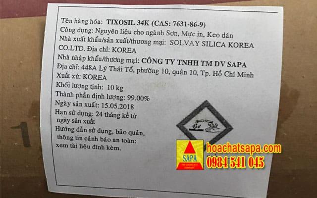 TIXOSIL 34K - chất làm mờ hệ dầu