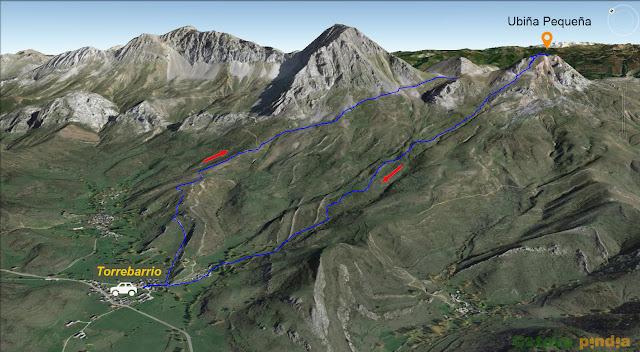 Mapa 3D con la ruta señalizada a Peña Ubiña Pequeña
