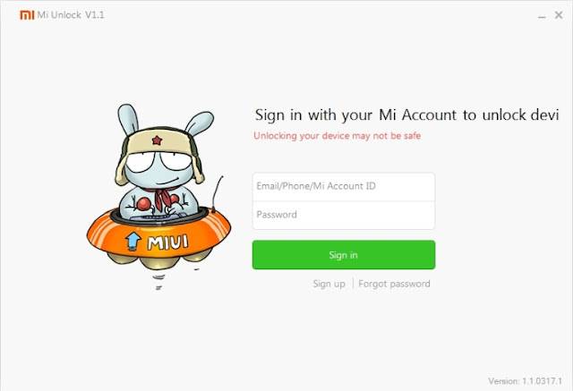 MiFlash Unlock Sign in Page