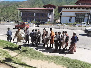 Group photo of visually impaired persons in Thimphu participating in a public awareness walk