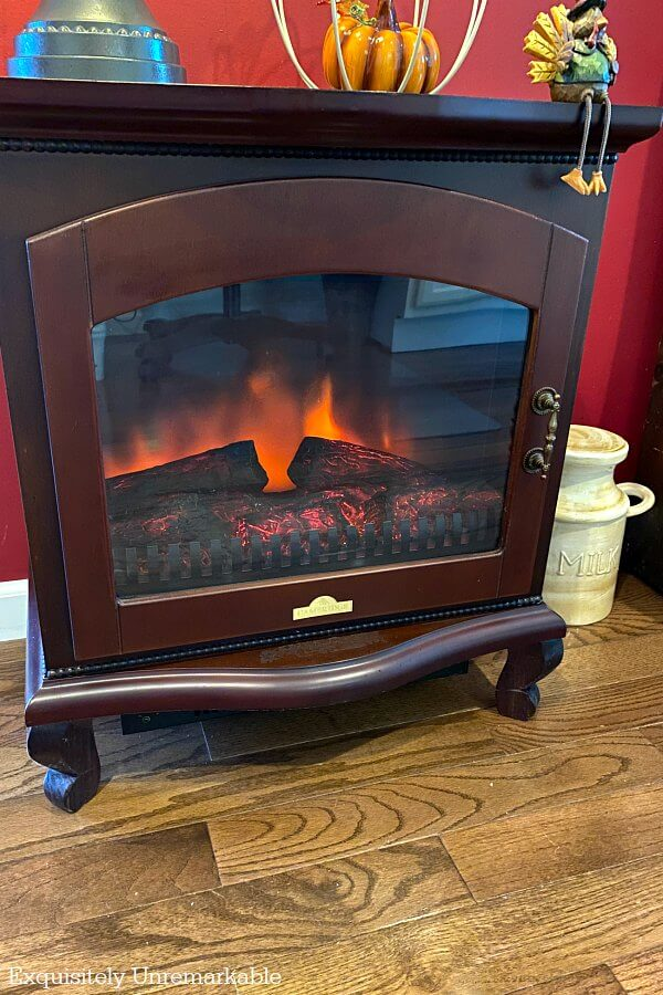 Small Electric Cherry Wood Fireplace