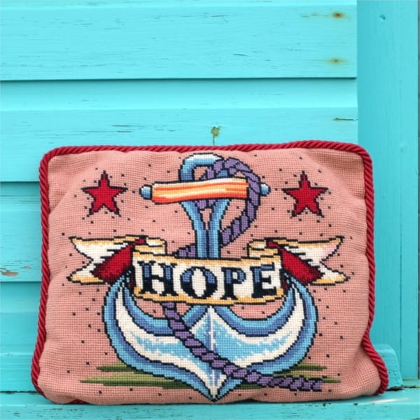 Hope Anchor Tattoo Cross Stitch Pillow