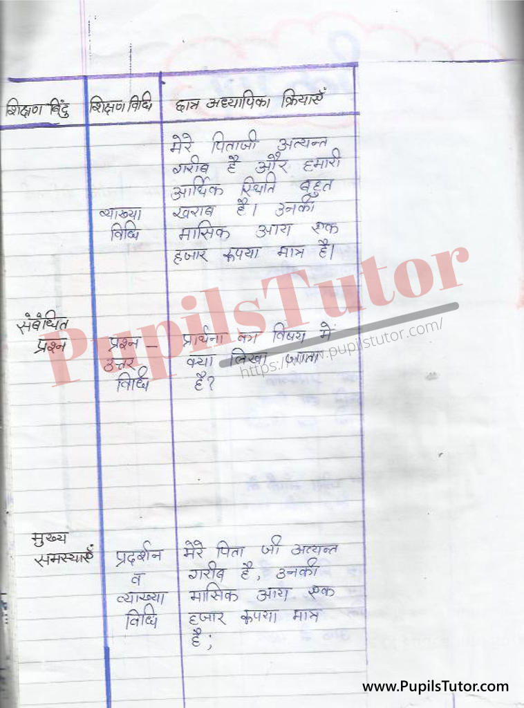 Prarthna Patra par Lesson Plan in Hindi for BEd and DELED
