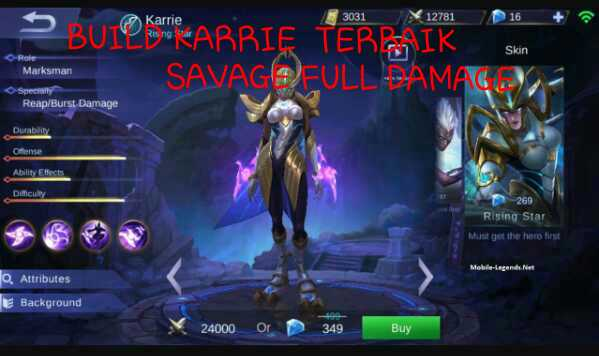 Build Item Karrie Terbaik Savage Full Damage Mematikan Terkuat