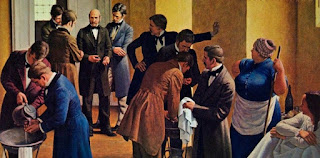 Semmelweis obligando a lavarse a los estudiantes