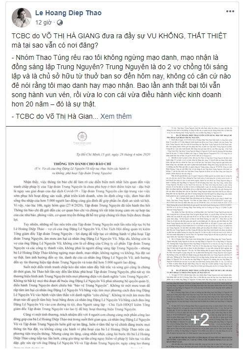 Bà Hoàng Lê Diệp Thảo bị tố cáo ám hại ông Đặng Lê Nguyên Vũ, bà Thảo nói gì?