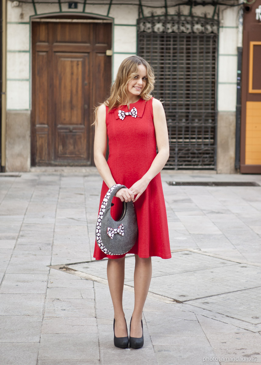 Red boucle wool dress - Senorita Martita FALL-WINTER street style by Amanda Dreamhunter - made in Spain