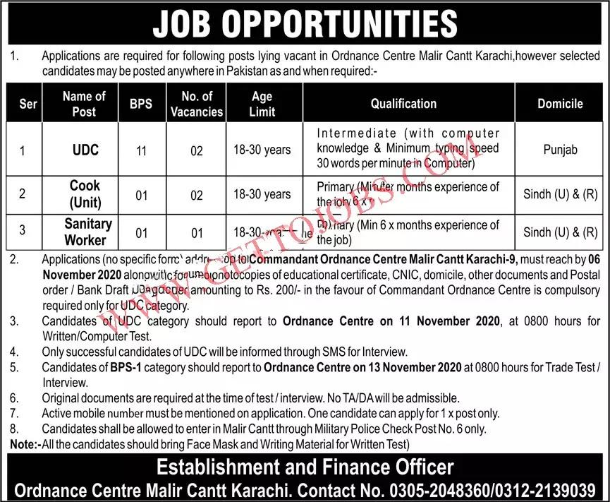 Pak Army Ordnance Centre Malir Cantt Karachi Jobs