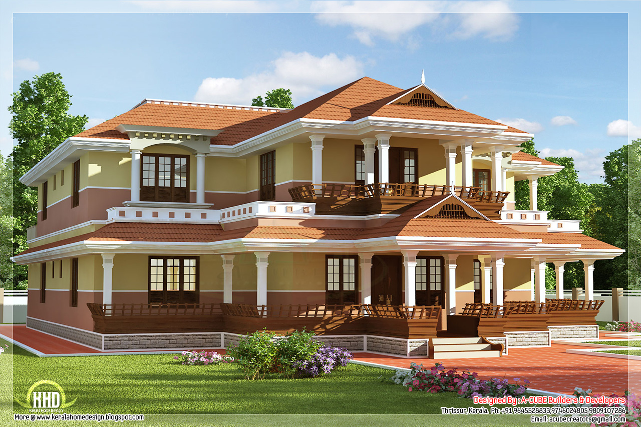 Keral model 5 bedroom luxury home design kerala home for Luxury home designers