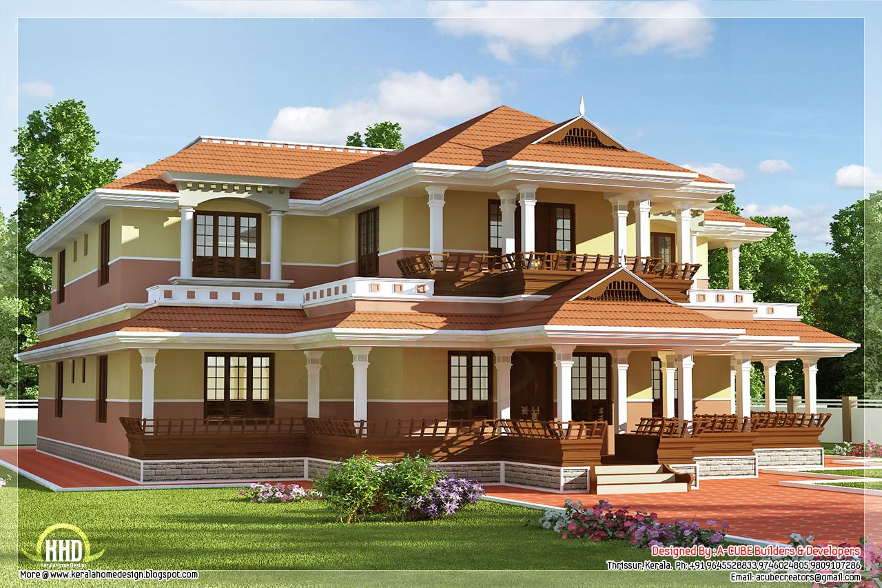 Keral model 5 bedroom luxury home design - Kerala home ... on Model Bedroom Design  id=85005