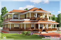 Keral Model 5 Bedroom Luxury Home Design - Kerala