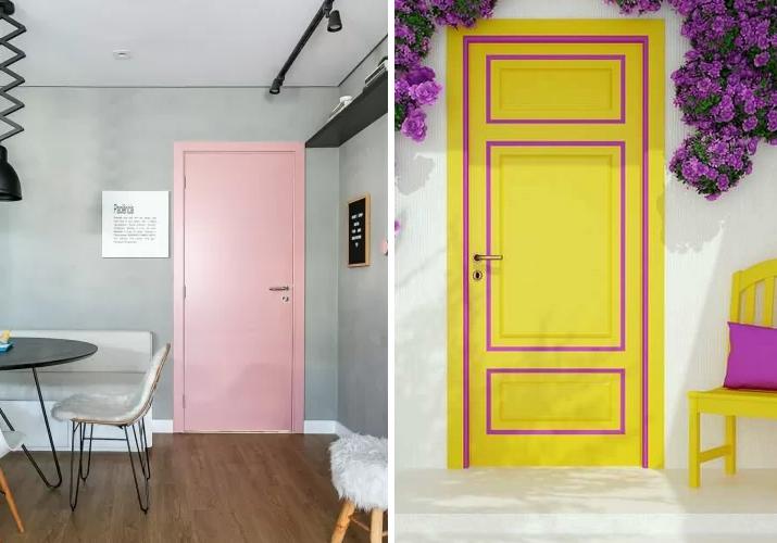 portas com cores análogas e complementares