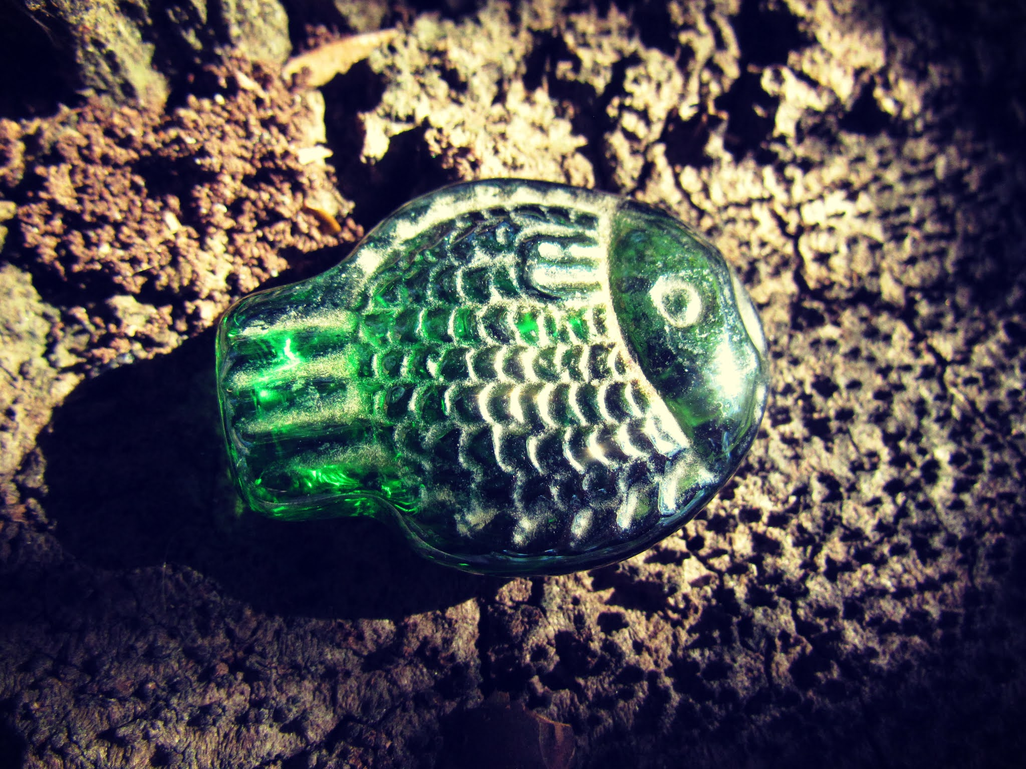 Green sea glass fish-shaped glass, forest finds, hiking magic in the woods, hunting, gathering, fish pisces sign