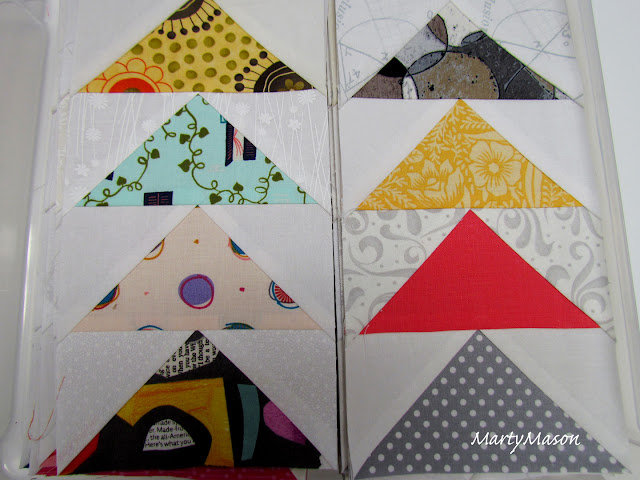 paper-pieced flying geese quilt blocks
