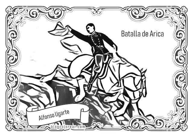 Colorear Alfonso Ugarte sacrificio, Batalla de Arica