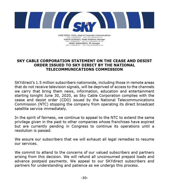 Sky Cable statement