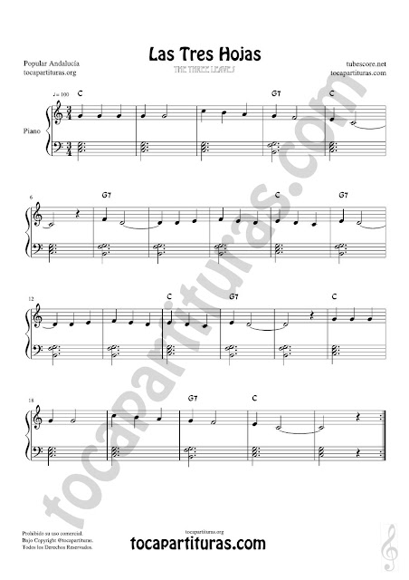 Partitura muy fácil de Las Tres Hojas en formato JPG para su descarga gratis con acordes en letra (en inglés) Easy Sheet Music Three Leaves Andalussian Traditional