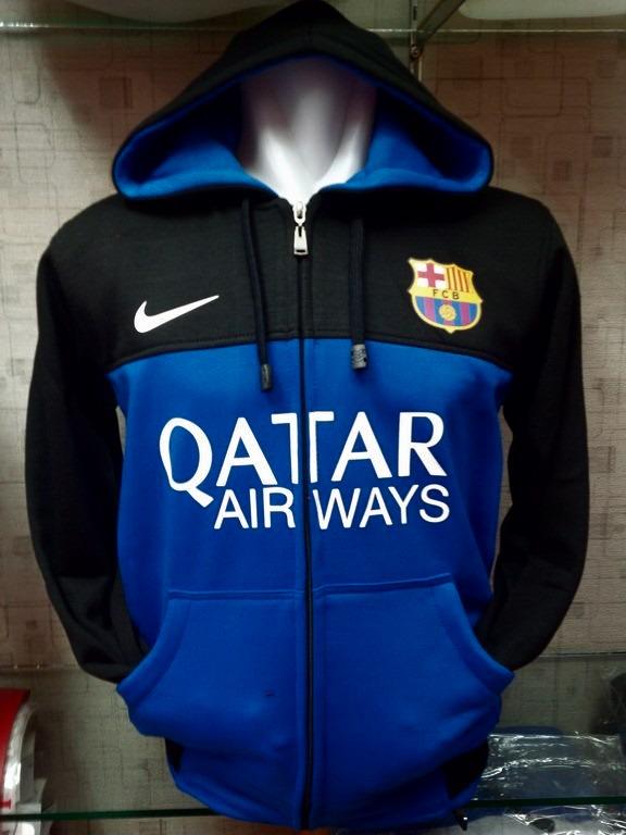 Jaket Hoodie Barcelona warna biru kombinasi hitam