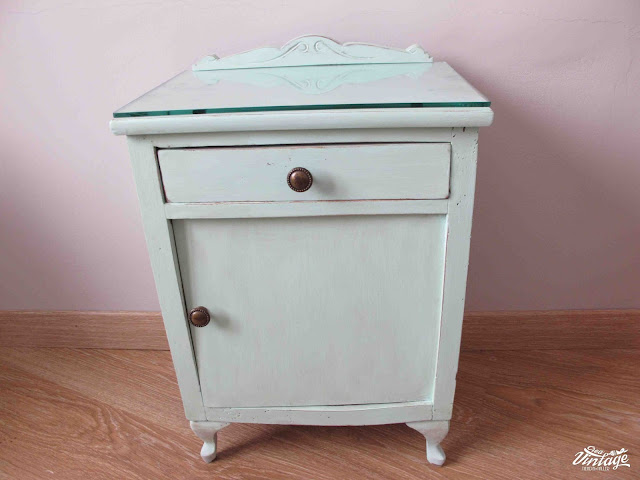mesita chalk paint mint, verde menta