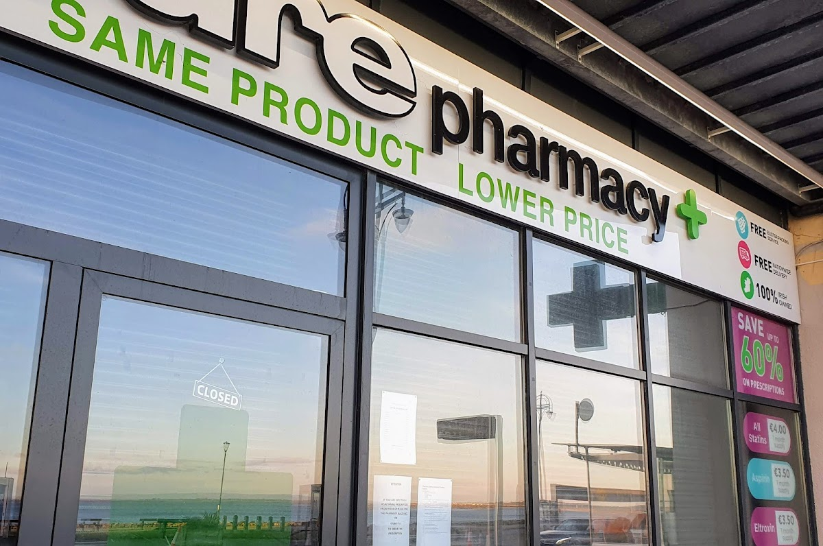 Front of Pure Pharmacy +, same products, lower prices, in Salthill Waterfront Development complex.