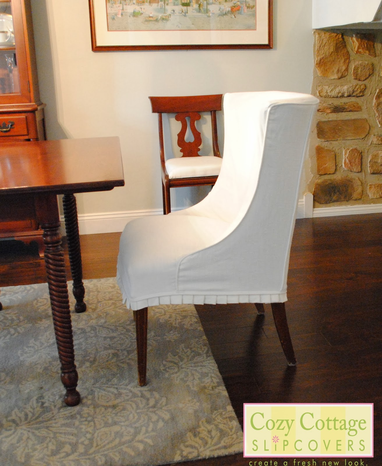 White Dining Chair Slipcovers Cozy Cottage Slipcovers White Slipcovers In The Dining Room