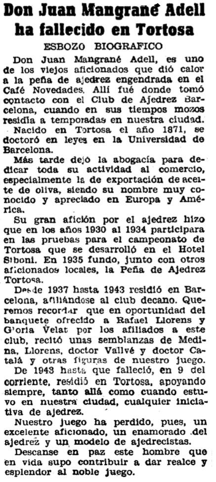 Noticia del fallecimiento de Joan Mangrané Adell en 1944