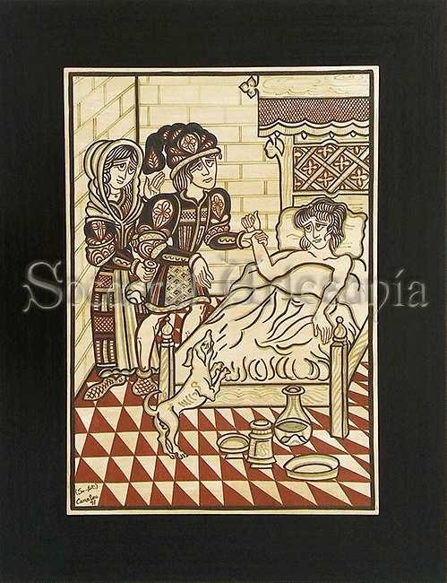 Socarrat Artesanía. Este socarrat nos muestra el Oficio del Médico. Obra original de Jaume de Scals. Camateu