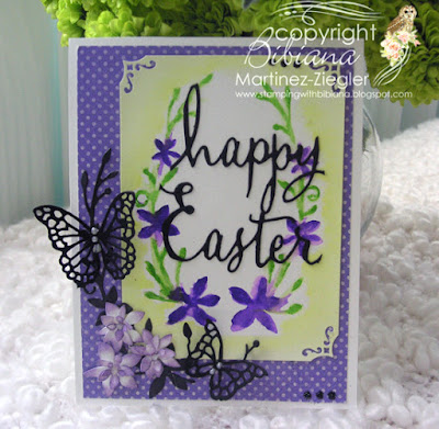 dies as stencils color with watercolors front purple card