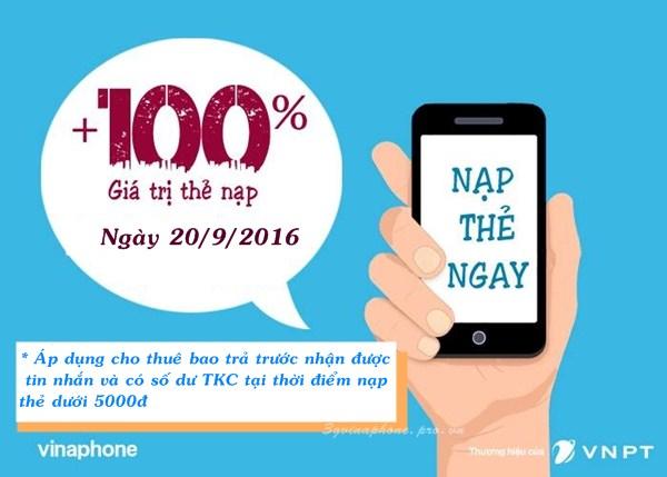 Vinaphone khuyến mãi 100% giá trị thẻ nạp ngày 20/9/2016