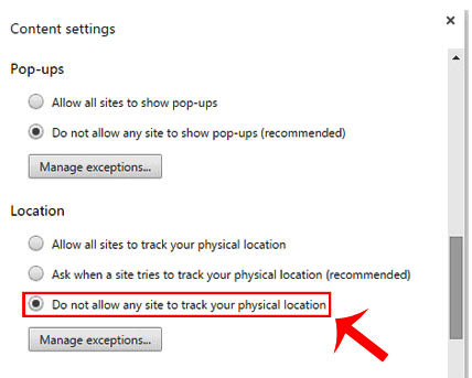 how to disable websites asking location in windows 10