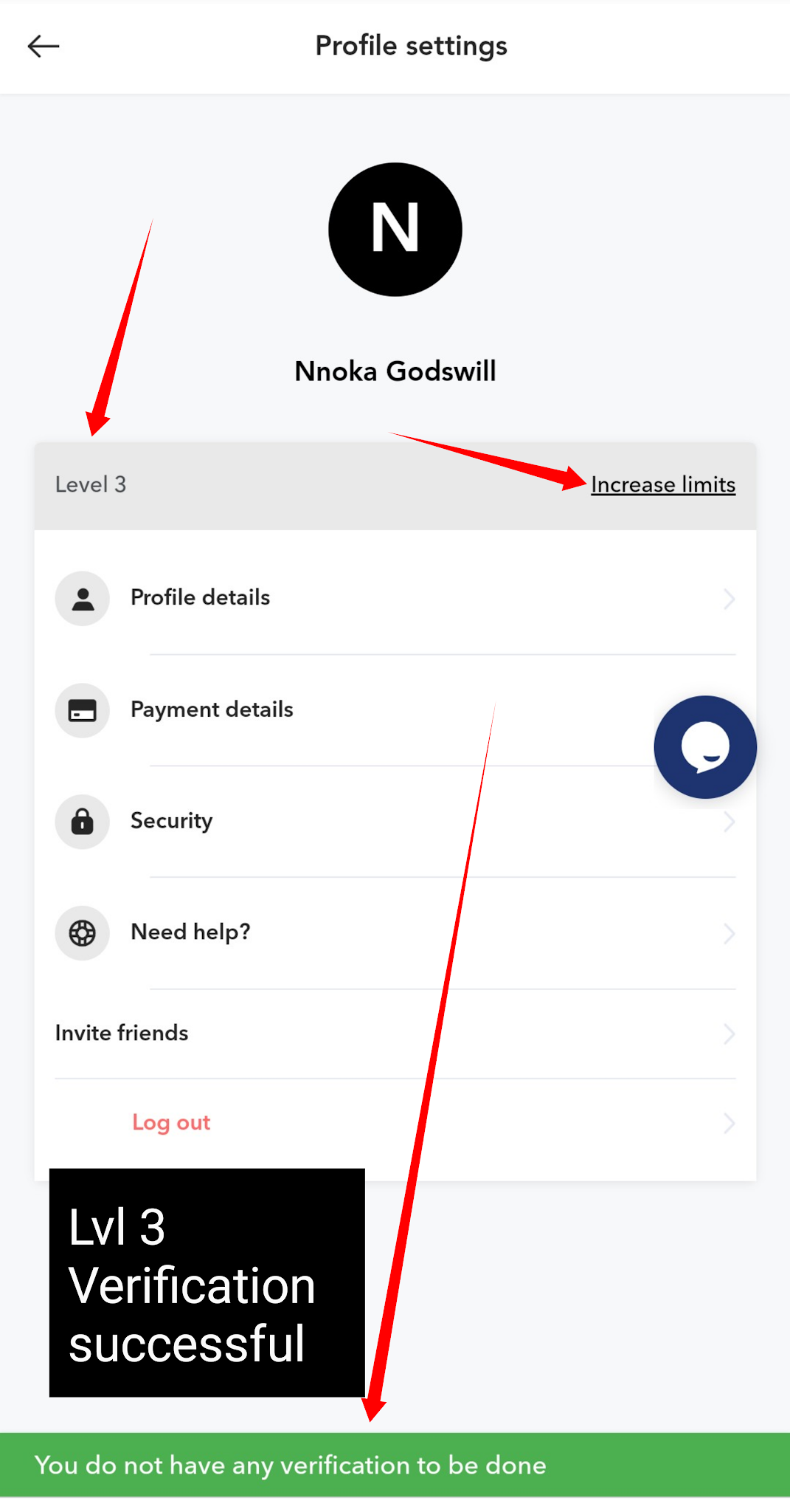 Flitaa Account verification successful