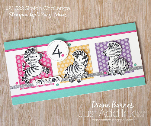 Handmade kids birthday card with Stampin Up Zany Zebras and Family Party stamp sets and 2020-22 in colors. Card by Di Barnes Indpendent Demonstrator in Sydney Australia - colourmehappy - sydneystamper - 2020-21 annual catalogue - sketch challenge - just add ink