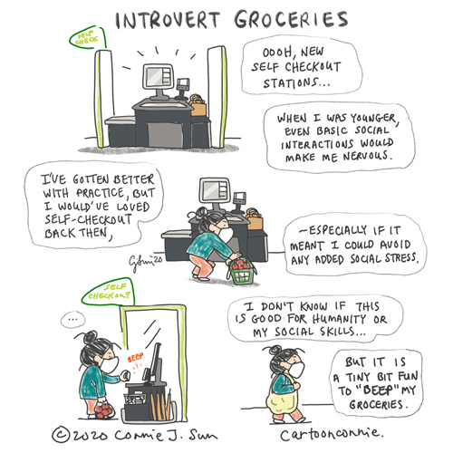"Journal comic by Connie Sun about self-checkout stations and the ghost of social anxiety past. Cartoon text: ""When I was younger, even basic social interactions would make me nervous. I've gotten better with practice, but I would've loved self-checkout stations back then, especially if it meant I could avoid any added social stress. I don't know if self-checkout is good for humanity or my social skills, but it is a tiny bit fun to 'beep' my groceries."" cartoonconnie comics and illustration."