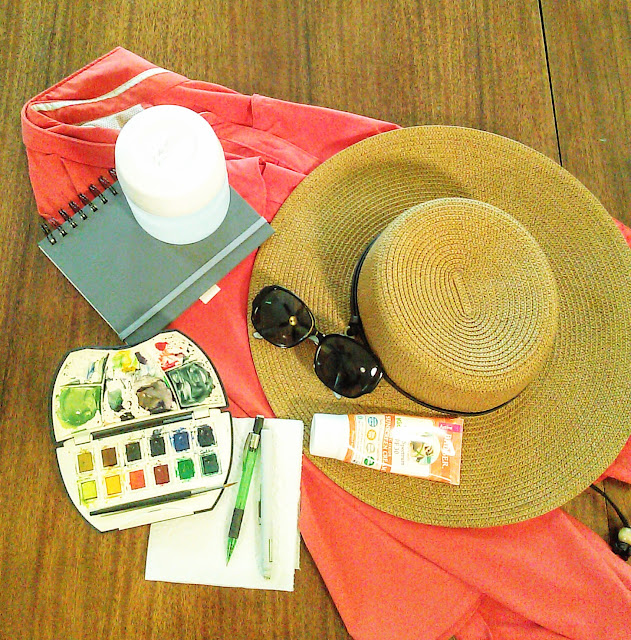 basic watercolor supplies necessary for traveling artist